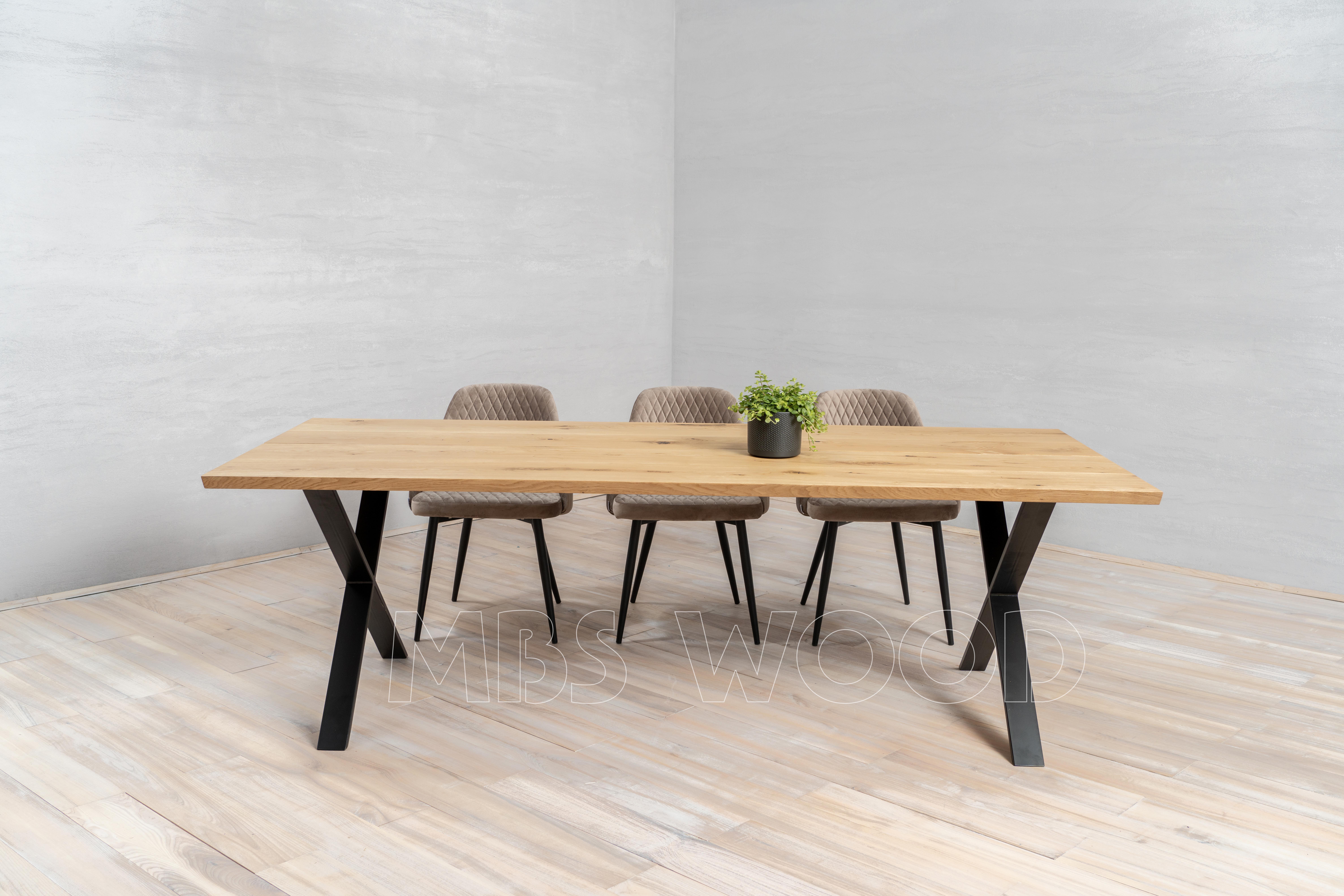Oak tables mbswood.com with metal legs x-shape color black